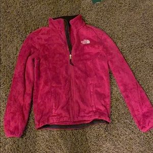 Pink fuzzy north face jacket size small
